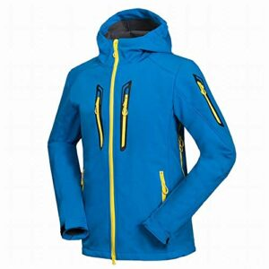 TOUY Hommes Softshell Polaire Randonnée Veste Zipper Style Coupe-Vent Respirant Sport Manteau Mâle Vêtements Équitation Escalade Manteau-Bleu_M.