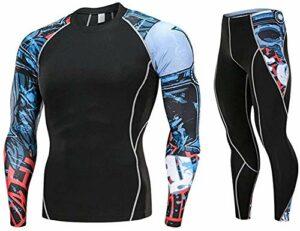 Vetement Musculation Homme,Ensemble de sous-Vêtement Thermique Maillot de Corps Manches Longues + Pantalon Vêtements de Fitness pour Hiver Ski Montagne Cyclisme Montagne Noir