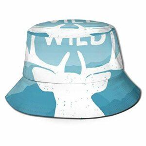 XCNGG Chapeau de pêcheur unisexe adulte Citation d'aventure sauvage avec chapeau de seau de montagne pittoresque, bonnet de soleil pliable, protection maximale pour Uva, parfait pour la pêche, le jard