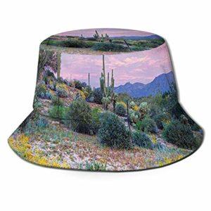 XCNGG Chapeau de pêcheur unisexe-adulte coucher de soleil dans un chapeau de seau de montagne, casquette de soleil pliable, protection maximale contre les UVA, parfait pour la pêche jardinage randonné