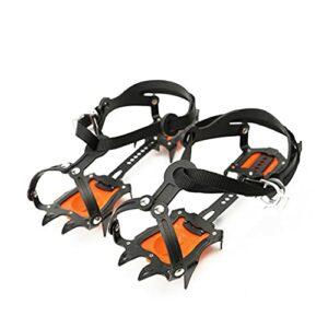 YDHWY Réglable 10 Dents Crampons en Acier de manganèse Engine d'escalade en Acier de la Neige de Glace Anti-dérapage de poignée Anti-dérapage Crampon Device Alpinisme (Color : Orange)