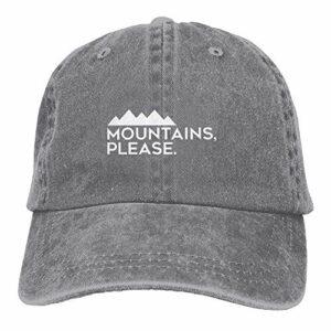 zhouyongz Mountains Please – Casquette de baseball réglable en denim pour camping et escalade