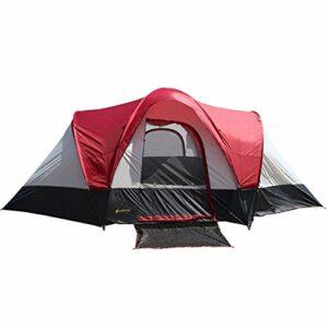 Busirsiz Tente de camping 4 saisons 2 chambres à coucher, 1 étage tente à monter pour les sports de plein air avec patchwork rouge facile à installer, adaptée pour l'extérieur, la randonnée et