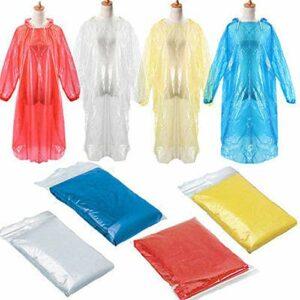 Yicare Mackintosh Poncho de pluie jetable d'urgence imperméable à capuche pour camping, randonnée, voyage, pique-nique, bivouac, marche, randonnée 20 pièces Multicolore